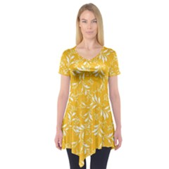 Fancy Floral Pattern Short Sleeve Tunic