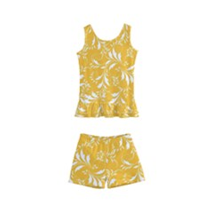Fancy Floral Pattern Kids  Boyleg Swimsuit