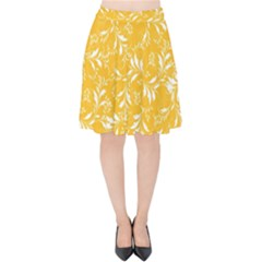 Fancy Floral Pattern Velvet High Waist Skirt