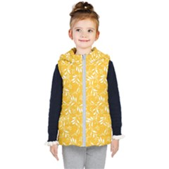 Fancy Floral Pattern Kids  Hooded Puffer Vest