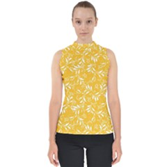 Fancy Floral Pattern Mock Neck Shell Top