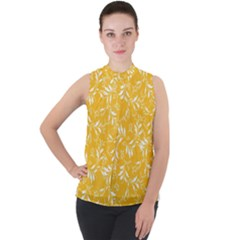 Fancy Floral Pattern Mock Neck Chiffon Sleeveless Top