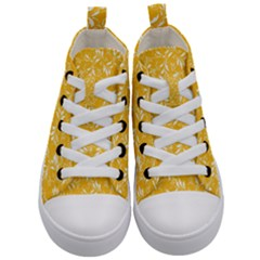 Fancy Floral Pattern Kids  Mid Top Canvas Sneakers