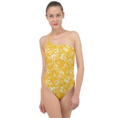 Fancy Floral Pattern Classic One Shoulder Swimsuit