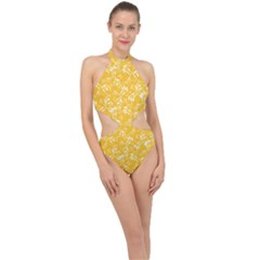 Fancy Floral Pattern Halter Side Cut Swimsuit