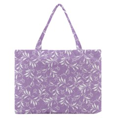 Fancy Floral Pattern Zipper Medium Tote Bag