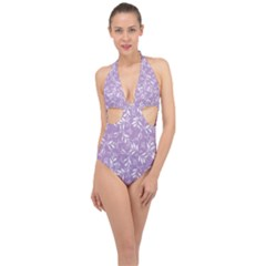 Fancy Floral Pattern Halter Front Plunge Swimsuit by tarastyle
