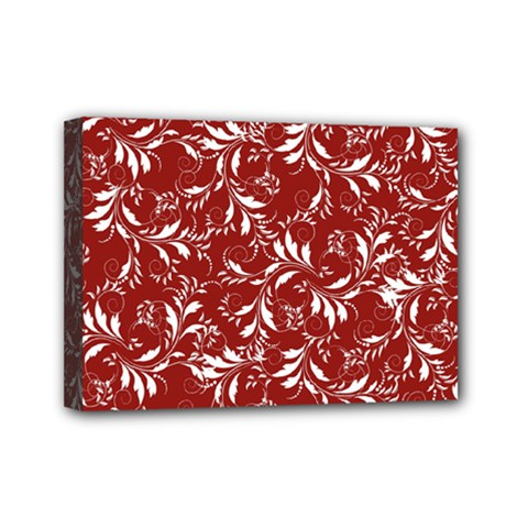Fancy Floral Pattern Mini Canvas 7  X 5  (stretched)