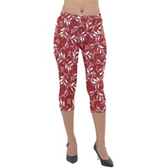 Fancy Floral Pattern Lightweight Velour Capri Leggings  by tarastyle
