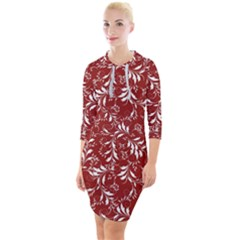 Fancy Floral Pattern Quarter Sleeve Hood Bodycon Dress