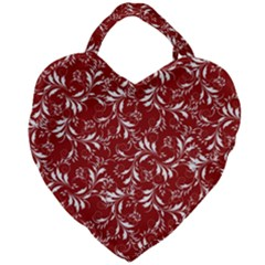 Fancy Floral Pattern Giant Heart Shaped Tote