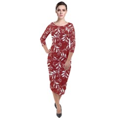Fancy Floral Pattern Quarter Sleeve Midi Velour Bodycon Dress by tarastyle