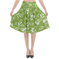 Fancy Floral Pattern Flared Midi Skirt