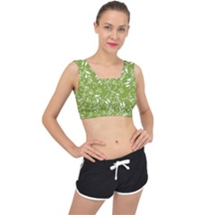 Fancy Floral Pattern V Back Sports Bra