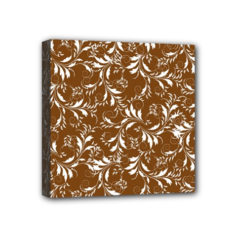 Fancy Floral Pattern Mini Canvas 4  X 4  (stretched)