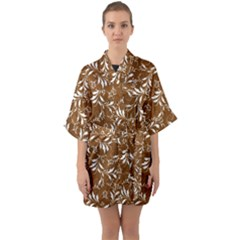 Fancy Floral Pattern Quarter Sleeve Kimono Robe by tarastyle