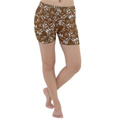 Fancy Floral Pattern Lightweight Velour Yoga Shorts