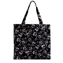 Fancy Floral Pattern Zipper Grocery Tote Bag