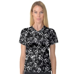 Fancy Floral Pattern V Neck Sport Mesh Tee