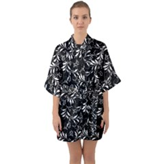 Fancy Floral Pattern Quarter Sleeve Kimono Robe