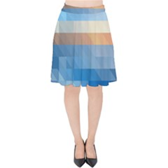 Static Graphic Geometric Velvet High Waist Skirt by AnjaniArt