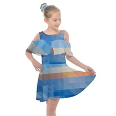 Static Graphic Geometric Kids  Shoulder Cutout Chiffon Dress by AnjaniArt