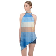 Static Graphic Geometric Halter Asymmetric Satin Top by AnjaniArt