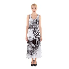 Skull And Crossbones Sleeveless Maxi Dress