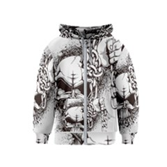 Skull And Crossbones Kids  Zipper Hoodie by Alisyart
