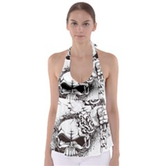Skull And Crossbones Babydoll Tankini Top