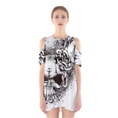 Skull And Crossbones Shoulder Cutout One Piece Dress