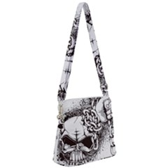 Skull And Crossbones Zipper Messenger Bag