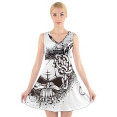 Skull And Crossbones V Neck Sleeveless Dress