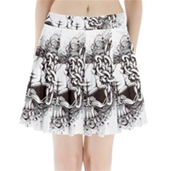 Skull And Crossbones Pleated Mini Skirt by Alisyart