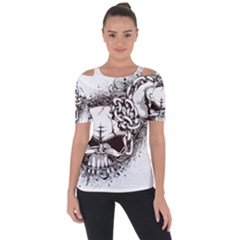 Skull And Crossbones Shoulder Cut Out Short Sleeve Top