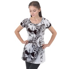 Skull And Crossbones Puff Sleeve Tunic Top