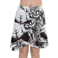 Skull And Crossbones Chiffon Wrap Front Skirt