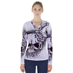 Skull And Crossbones V Neck Long Sleeve Top