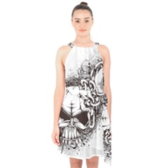 Skull And Crossbones Halter Collar Waist Tie Chiffon Dress