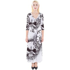 Skull And Crossbones Quarter Sleeve Wrap Maxi Dress by Alisyart