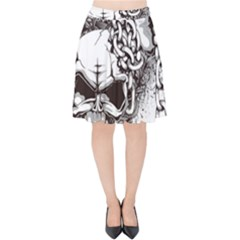 Skull And Crossbones Velvet High Waist Skirt