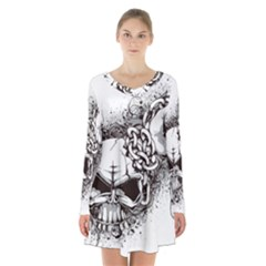 Skull And Crossbones Long Sleeve Velvet V Neck Dress
