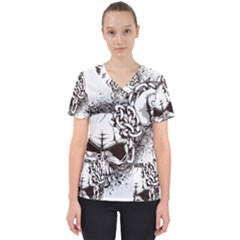 Skull And Crossbones Women s V Neck Scrub Top