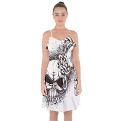 Skull And Crossbones Ruffle Detail Chiffon Dress