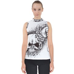Skull And Crossbones Mock Neck Shell Top