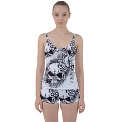 Skull And Crossbones Tie Front Two Piece Tankini