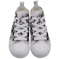 Skull And Crossbones Kids  Mid Top Canvas Sneakers