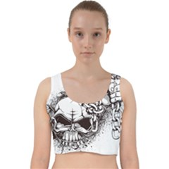 Skull And Crossbones Velvet Racer Back Crop Top
