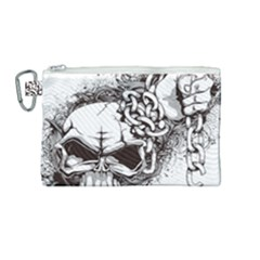 Skull And Crossbones Canvas Cosmetic Bag (medium)