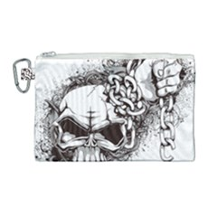 Skull And Crossbones Canvas Cosmetic Bag (large)